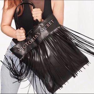 Victoria's secret large fringe tote bag black
